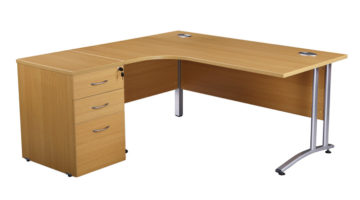 QE CRESCENT AND DESK HIGH DRAWER UNIT