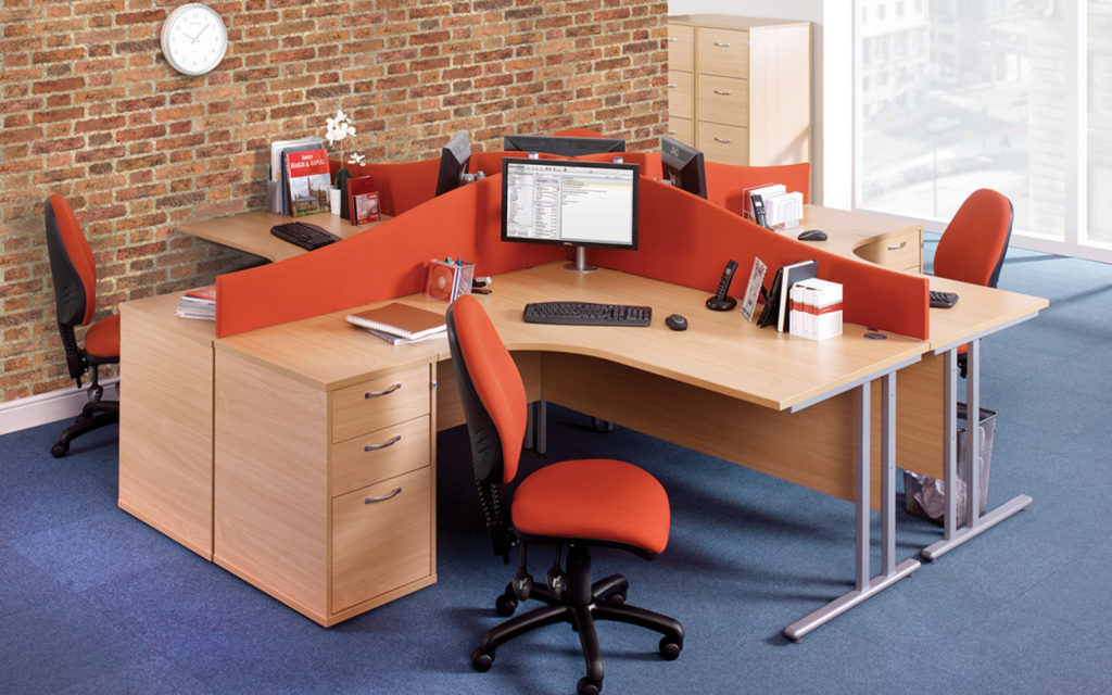 Aspenhome Warm Cherry Executive Modular Home Office: Set Of 4 Desks And 4 Drawer Units > International